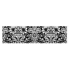 Damask2 Black Marble & White Linen (r) Satin Scarf (oblong)