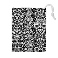 Damask2 Black Marble & White Linen (r) Drawstring Pouches (extra Large)