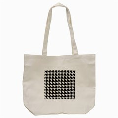 Houndstooth1 Black Marble & White Linen Tote Bag (cream)