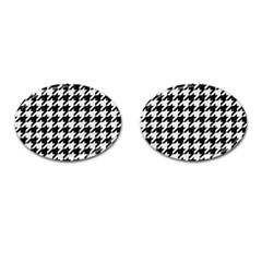 Houndstooth1 Black Marble & White Linen Cufflinks (oval)