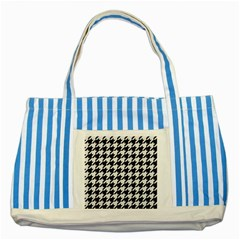 Houndstooth1 Black Marble & White Linen Striped Blue Tote Bag
