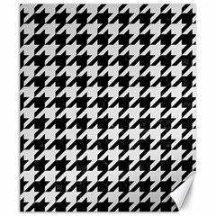 Houndstooth1 Black Marble & White Linen Canvas 20  X 24