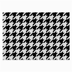 Houndstooth1 Black Marble & White Linen Large Glasses Cloth