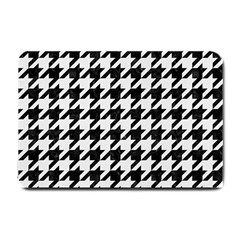 Houndstooth1 Black Marble & White Linen Small Doormat