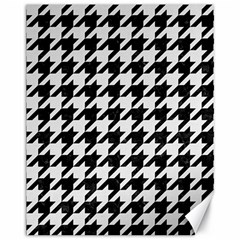 Houndstooth1 Black Marble & White Linen Canvas 11  X 14