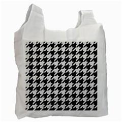 Houndstooth1 Black Marble & White Linen Recycle Bag (one Side)