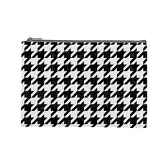 Houndstooth1 Black Marble & White Linen Cosmetic Bag (large)