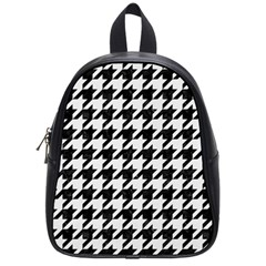 Houndstooth1 Black Marble & White Linen School Bag (small)