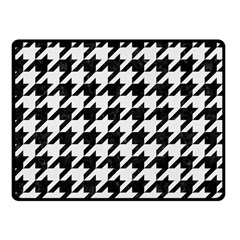 Houndstooth1 Black Marble & White Linen Fleece Blanket (small)