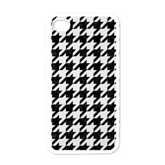 Houndstooth1 Black Marble & White Linen Apple Iphone 4 Case (white)