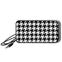 Houndstooth1 Black Marble & White Linen Portable Speaker
