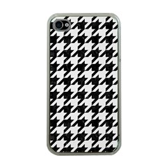 Houndstooth1 Black Marble & White Linen Apple Iphone 4 Case (clear)