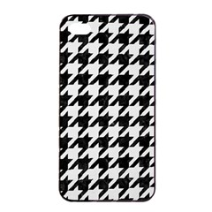 Houndstooth1 Black Marble & White Linen Apple Iphone 4/4s Seamless Case (black)
