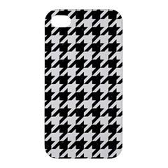 Houndstooth1 Black Marble & White Linen Apple Iphone 4/4s Premium Hardshell Case