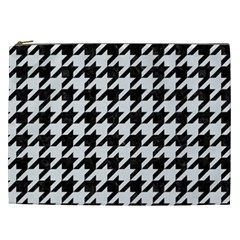 Houndstooth1 Black Marble & White Linen Cosmetic Bag (xxl)