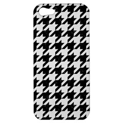 Houndstooth1 Black Marble & White Linen Apple Iphone 5 Hardshell Case
