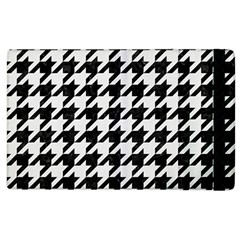 Houndstooth1 Black Marble & White Linen Apple Ipad 2 Flip Case