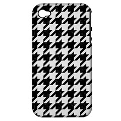 Houndstooth1 Black Marble & White Linen Apple Iphone 4/4s Hardshell Case (pc+silicone)