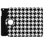 HOUNDSTOOTH1 BLACK MARBLE & WHITE LINEN Apple iPad Mini Flip 360 Case Front