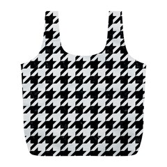 Houndstooth1 Black Marble & White Linen Full Print Recycle Bags (l)