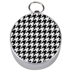 Houndstooth1 Black Marble & White Linen Silver Compasses