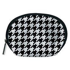 Houndstooth1 Black Marble & White Linen Accessory Pouches (medium)