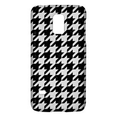 Houndstooth1 Black Marble & White Linen Galaxy S5 Mini