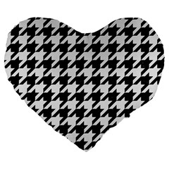 Houndstooth1 Black Marble & White Linen Large 19  Premium Flano Heart Shape Cushions