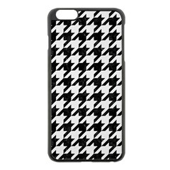 Houndstooth1 Black Marble & White Linen Apple Iphone 6 Plus/6s Plus Black Enamel Case