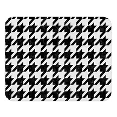 Houndstooth1 Black Marble & White Linen Double Sided Flano Blanket (large)