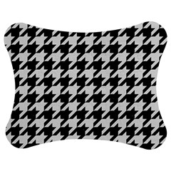 Houndstooth1 Black Marble & White Linen Jigsaw Puzzle Photo Stand (bow)