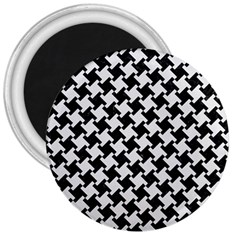 Houndstooth2 Black Marble & White Linen 3  Magnets
