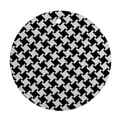 Houndstooth2 Black Marble & White Linen Ornament (round)