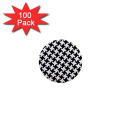 Houndstooth2 Black Marble & White Linen 1  Mini Magnets (100 Pack)