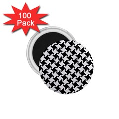 Houndstooth2 Black Marble & White Linen 1 75  Magnets (100 Pack)