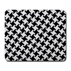 Houndstooth2 Black Marble & White Linen Large Mousepads