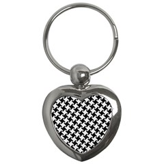 Houndstooth2 Black Marble & White Linen Key Chains (heart)