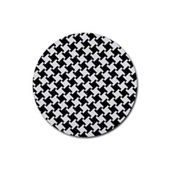 Houndstooth2 Black Marble & White Linen Rubber Round Coaster (4 Pack)