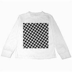 Houndstooth2 Black Marble & White Linen Kids Long Sleeve T Shirts