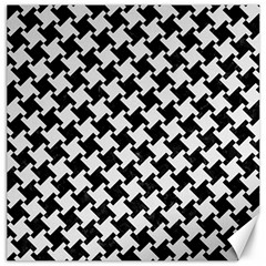 Houndstooth2 Black Marble & White Linen Canvas 12  X 12