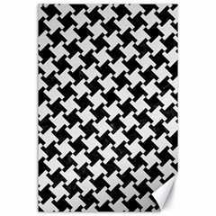 Houndstooth2 Black Marble & White Linen Canvas 24  X 36
