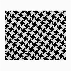 Houndstooth2 Black Marble & White Linen Small Glasses Cloth (2 Side)