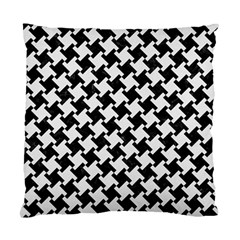 Houndstooth2 Black Marble & White Linen Standard Cushion Case (two Sides)