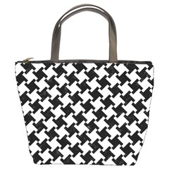 Houndstooth2 Black Marble & White Linen Bucket Bags