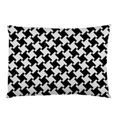 Houndstooth2 Black Marble & White Linen Pillow Case