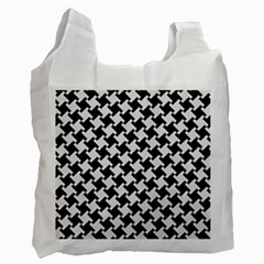Houndstooth2 Black Marble & White Linen Recycle Bag (one Side)
