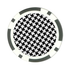 Houndstooth2 Black Marble & White Linen Poker Chip Card Guard (10 Pack)