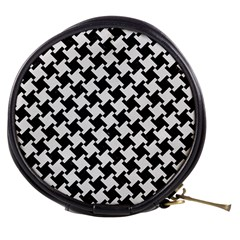 Houndstooth2 Black Marble & White Linen Mini Makeup Bags