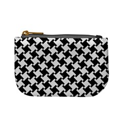 Houndstooth2 Black Marble & White Linen Mini Coin Purses