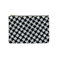 Houndstooth2 Black Marble & White Linen Cosmetic Bag (medium)